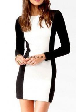 Czarno-biała sukienka na długi rękaw  Seksowna sukienka o niecodziennym wykonaniu.