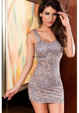 Mini sukienka w brązową panterkę  Seksowna panterka dla odważnych kobiet.