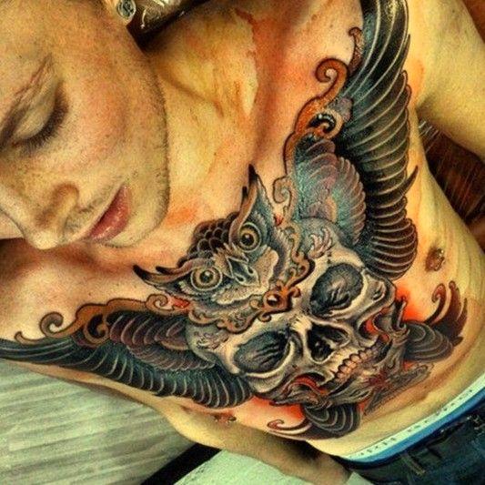 Czaszka Tatuaż Na Klatce Piersiowej Na Tatuaże Zszywkapl
