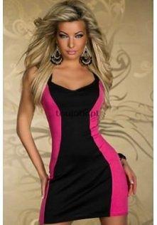 Różowo-czarna sukienka mini...