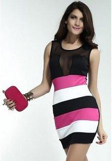 Mini sukienka w kolorowe pa...
