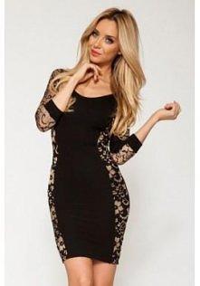 Czarna sukienka ze złotymi ...