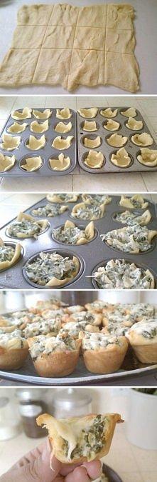 Wytrawne muffinki ze szpinakiem i serem żółtym