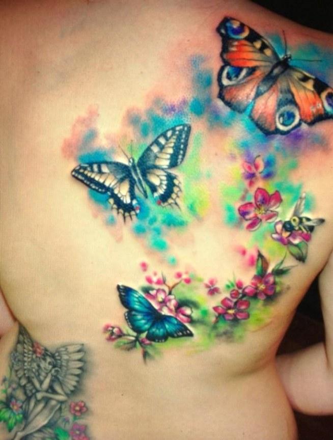 Kolorowe Motyle Tatuaże Na Plecach Na Tatuaże Zszywkapl