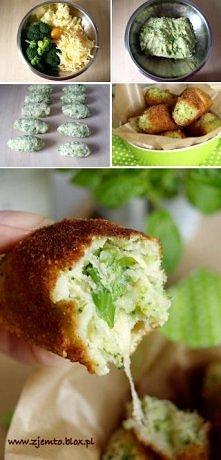 Brokułowe krokiety  Miękkie, brokułowo-serowe wnętrze, w chrupiącej panierce....