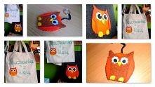 Prezent dla Pani nauczycielki - torba filcowa z filcową sową, torba zakupowa z namalowaną oraz brelok :)  Zapraszam do zamawiania własnych wzorów  :)