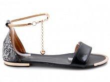 Renee - Sandały Złoty Łańcuszek L156 Czarny