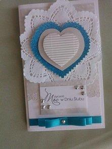 Kartka ślubna z niebieskimi...