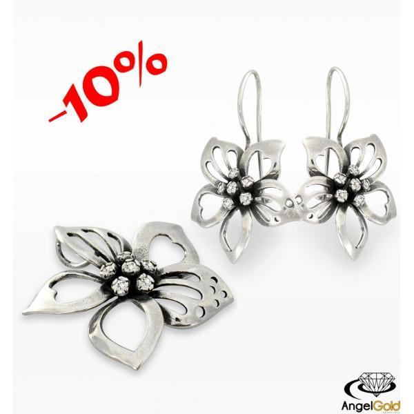 Wyjątkowy komplet KWIATKI wykonany w całości ze srebra próby 925. PROMOCJA -10% !!!
