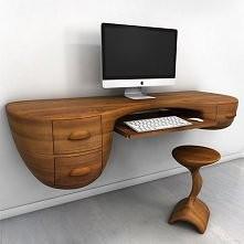 Futurystyczne drewniane biurko bez nóg