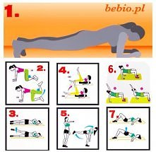 Zgrabne nogi i krągłe pośladki  + brzuch.. Bez obciążania kolan :) 1.Podpór na przedramionach 3 x 20 sek Jeśli ta pozycja jest dla Ciebie trudna, oprzyj kolana o matę  2. 20 x n...