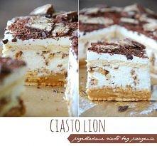 """Ciasto Lion   """"Pyszne ciasto bez pieczenia, którego przygotowanie zajmie niecałe pół godziny. Główne składniki jakie potrzebujemy to herbatniki, masa kajmakowa, serek masca..."""