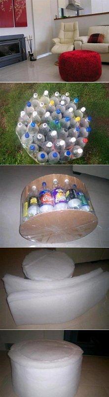 Pufa z butelek i kartonu