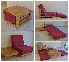 Genialny pomysł. Stolik z palet, który się transformuje w krzesło i łóżko :) ...