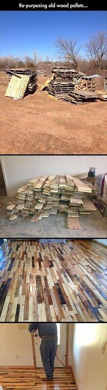 podłoga z palet. szlifujemy i lakierujemy.