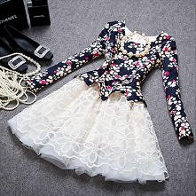 Fashion Floral Print Round Neck Long-sleeved Dress