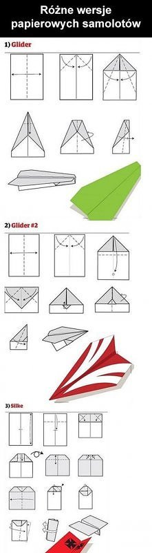 12 różnych wersji papierowych samolotów