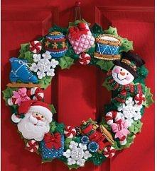 świąteczny wieniec z filcu