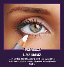 Optyczne powiększenie oczu za pomocą białej kredki