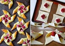 Kup gotowe ciasto francuskie (koszt ok.3-4zł), wytnij kwadraty    i natnij zgodnie ze zdjęciem. Nadzienie wybierz według własnego uznania. Piecz 15-20 min.w 180 stopniach