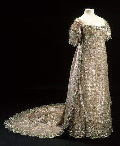 In this older image you can see the gown's train. Image @Museum of London