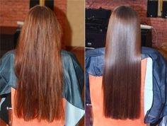 """Laminowanie włosów - cała prawda i jak to zrobić. Potrzebujemy: * 1/4 szkl gorącej wody, * łyżka żelatyny, * pół łyżki odżywki do włosów lub maski Żelatynę dokładnie rozpuszczamy w gorącej wodzie. Zostawiamy by ostygło i idziemy myć włosy. Wracamy do żelatyny - dodajemy odżywkę/maskę i opcjonalnie można dodać kilka kropel oliwy z oliwek/oliwki babydream/hipp. Mieszamy na gładką masę i nakładamy równomiernie na całe włosy. Na włosy nakładamy foliowy czepek, a potem ręcznik i zostawiamy w takim ciepełku na 45 minut. Nie więcej. Po tym czasie płuczemy włosy chłodną wodą. Żelatyna wnika we włosy i uzupełnia braki w strukturze. A chłodna woda sprawia, że łuski włosa są domknięte. Co zauważyłam po laminowaniu? Włosy były niesamowicie miękkie, gładkie, jednocześnie grube i """"mięsiste"""", błyszczące, sypkie, bardziej elastyczne, nie ma mowy o puszeniu, chociaż wiem, że brzmi to jak bajka na dobranoc. To kolejny zabieg, który moje włosy uwielbiają. Myślę, że warto spróbować na własnych włosach. Efekt utrzymuje się przeciętnie do 5 myć dlatego lepiej nie robić go częściej niż raz na 2 tygodnie. Pamiętajcie jednak, że nie należy go powtarzać zbyt często, bo możecie przeproteinować włosy (wtedy będą sianowate). Za laminowanie w salonie fryzjerskim zapłacicie ok. 500zł za zabieg, a koszt domowego laminowania to max 5zł. * Może efekt nie wygląda dokładnie tak jak na zdjęciu, bo to kwestia stylizacji, ale przy dotykaniu włosów na pewno będzie odczuwalna różnica. :)"""
