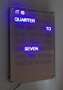 blue word clock