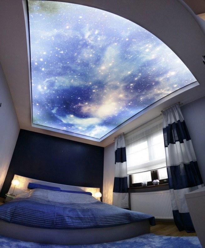 Sypialnia Z Sufitem Obitym Fototapeta Nieba Tudziez Kosmosu P Na