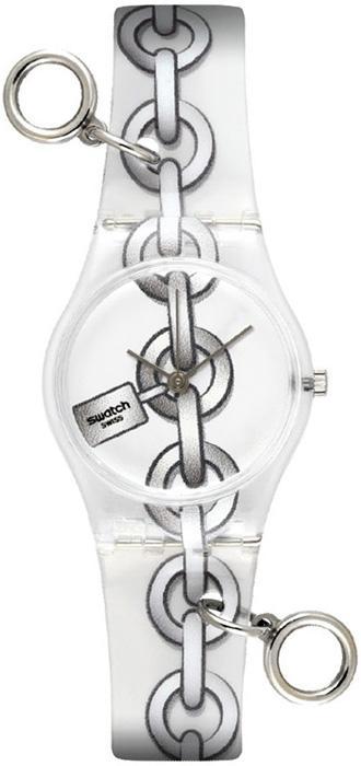 Zegarek Swatch z ozdobnymi kajdankami.