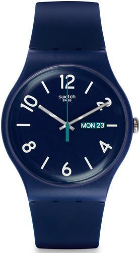 Granatowy zegarek marki Swatch.