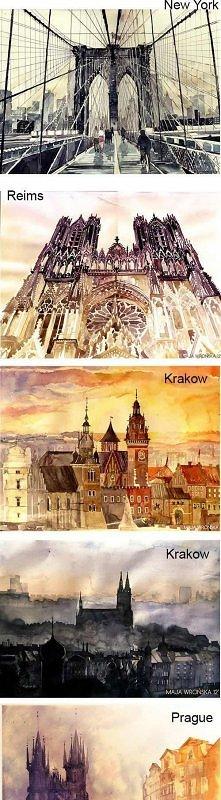 Rysunki różnych miast