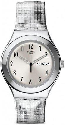 Srebrny zegarek marki Swatch.