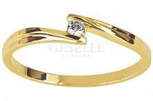 Delikatny, złoty pierścionek zaręczynowy WZ 556 z brylantem 0,03 ct od GESELL...