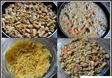 Składniki: 3 ziemniaki średniej wielkości ok. 600 g schabu 2 duże cebule 2 marchewki 30 dag małych pieczarek 30 dag żółtego sera 300 ml śmietany 18% sól, pieprz słodka i ostra p...