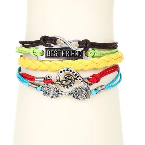 Vintage Musical Notes Owls Multilayer Woven Bracelet