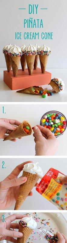 Genialny pomysł na lody piniata :)