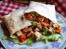 Domowa tortilla z grilowanym kurczakiem Składniki - placki pszenne tortilla  ...
