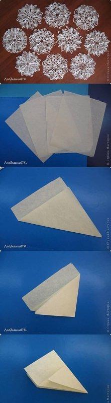 jak złożyć trójkąty do wycinania śnieżek +wzory