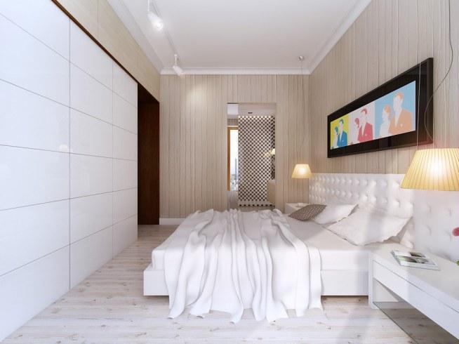 Projekt Wnętrza Sypialni Beżowo Białej Z Ciemnymi Akcentami