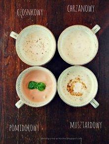 Lekkie, jogurtowe sosy Sos czosnkowy: 100g jogurtu naturalnego, 1 duży ząbek ...