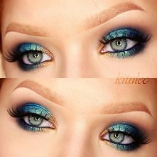 Blue & Teal Kolorowe brokatowe smokey eye na moim kanale youtube - kitulec makeup, a więcej zdjęć makijażu na blogu - kitulec beauty blog
