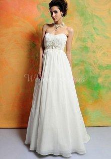 chiffon sleeveless sweetheart a-line applique wedding dress - wegdress.com