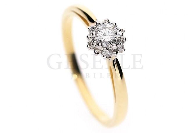 WZ 570 przepiękny pierścionek zaręczynowy z brylantami o masie 0,26 ct z żółtego złota od GESELLE Jubiler