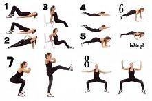 Kazde ćwiczenie : 15-20 powtórzeń - zrób 30 sek przerwy, kolejne 20 powtórzeń...