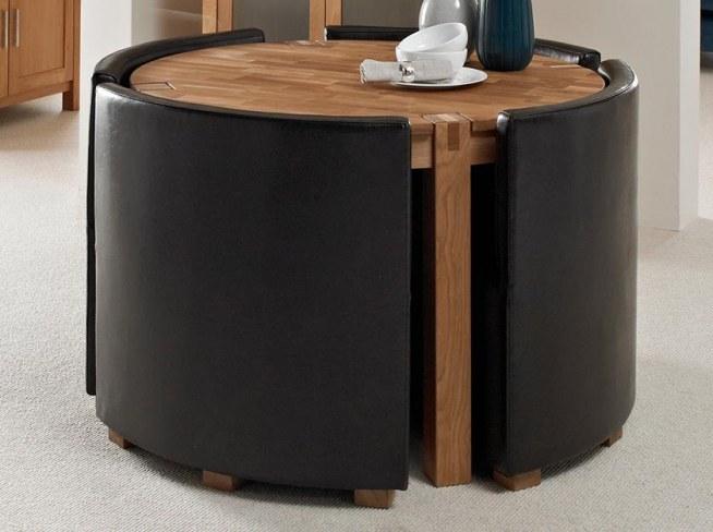 Okrągły Stół Z Chowanymi Krzesłami Na Wnętrzameble