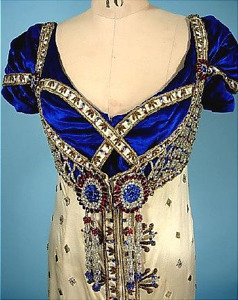 c. 1910 For Madame De Bittencourt Satin Jeweled Gown