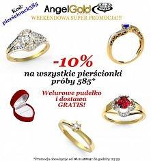Przez cały weekend wszystkie pierścionki wykonane ze złota próby 585 dostępne będą 10% taniej. Wystarczy wpisać kod rabatowy: pierścionek585
