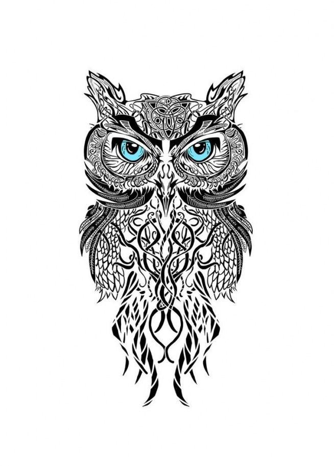 Great Horned Owl Black And Grey Tattoo sowa na Pomysły - Zsz...