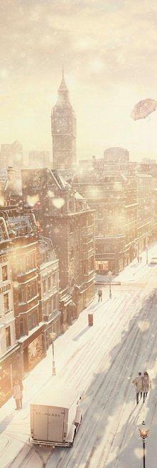 Londyn w czasie zimy. Widok...