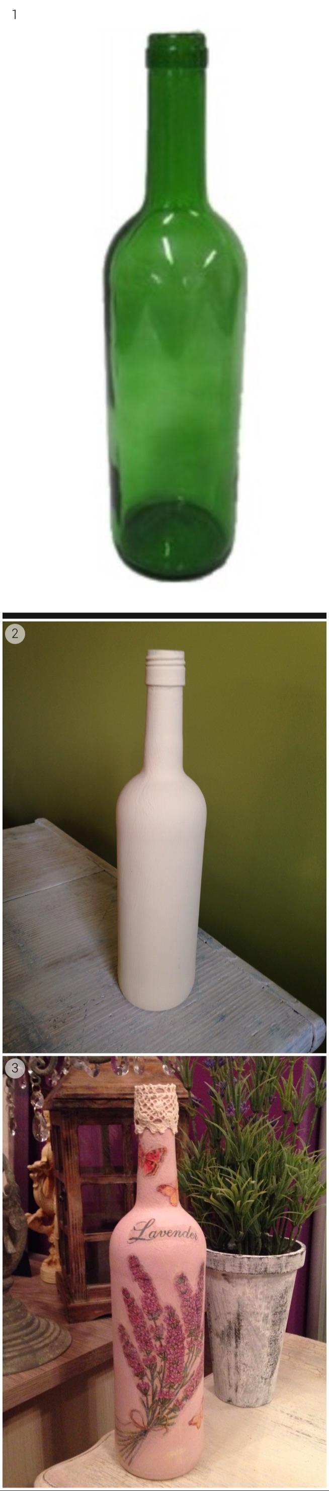 butelka po winie i decoupage